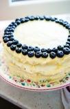 Bluerries und weißer Schokoladenkuchen Stockfotos