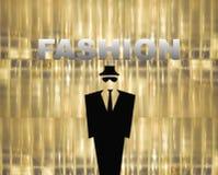 Fashion style illustration on golden background Stock Photography