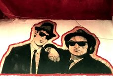 Blues Brothers Murales In A Pub Stock Photo