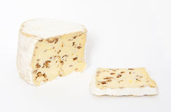 Blues cheese. With nuts on the white Stock Photo