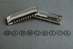 Blues diatonic harmonicas. Over dark grey background Stock Photo