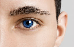 Blues Eyes. Close-up portrait of a young man with blue eyes - OBS: model use lens contact Royalty Free Stock Photos