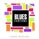 Blues festival logo template, creative banner, poster, flyer design element for musical party celebration vector. Illustration, web design Stock Photography