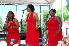 Blues Festival, performers. Chicago Blues Festival 2007, it's a joy to ears and souls. Chorus in reds with a perfect harmony Royalty Free Stock Photo