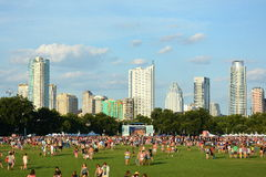 Blues on the Green. At Zilker Park, Austin, Texas with Austin Skyline Stock Photo
