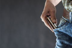 Blues harmonica in the pocket Stock Images