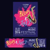 Blues and jazz festival poster brochure and banner templates Royalty Free Stock Photography