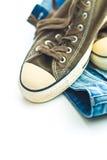 Blues-jean et espadrilles de vintage Photo libre de droits