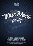 Blues music party. Poster background grunge template. Hand drawn Typographic flyer or poster. Vector design. Stock Image
