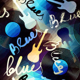 Blues music. Seamless blue pattern with the original inscription Blues Royalty Free Stock Image