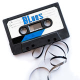 Blues musical genres audio tape label.  stock photos