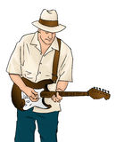 Blues Musician with Guitar. This illustration shows a guitarist playing his instrument. The musician appears to be playing a blues song with a smile on his face stock illustration