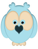 Blues Owls. An illustration of a blue owl with large eyes and a heart shaped beak Royalty Free Stock Image