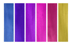 Blues and pinks coconut paper banner set isolated. With clipping path stock image