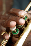 Blues Player. A stock image of an elderly black man's fingers playing an old horn