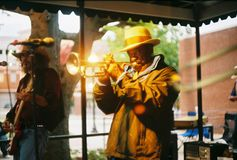 Blues Recording Artist, Ben Cauley On Beale Street in Memphis, TN. Electrifying Blues recording artist, Ben Cauley Playing a trumpet on Beale Street in Memphis Royalty Free Stock Image