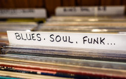 Blues, Soul, Funk Records. A selection of Blues Sould and Funk vinyl albums for sale in a second hand store royalty free stock photography