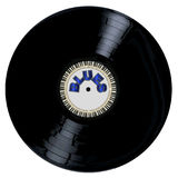 Blues Style Record. A typical LP vinyl record with the legend blues and a circle of piano keys all over a white background Stock Photos