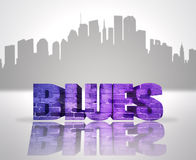 Blues in town. Text Blues near abstract skyline silhouette of the city Stock Image