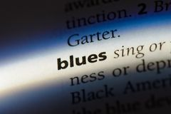 Blues. Word in a dictionary.  concept Stock Photography