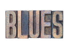 Blues word wooden Royalty Free Stock Photo