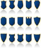 Blueshields. Vector set of blue shields Royalty Free Stock Images