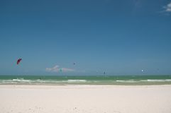 Bluesky and Kite surf. Ocean blue sky and Kite surf play at Thailand Stock Photography