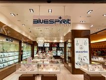Bluespirit Jewelry store in Rome, Italy with people shopping. ROME, ITALY - JUNE 18, 2016. Bluespirit Jewelry store in Rome, Italy with people shopping Stock Photo