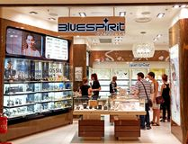 Bluespirit Jewelry store in Rome, Italy with people shopping. ROME, ITALY - JUNE 18, 2016. Bluespirit Jewelry store in Rome, Italy with people shopping Royalty Free Stock Image