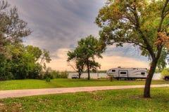 Bluestem湖状态度假区是一个野营的斑点在Nebrask 库存照片