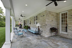 Bluestone patio with columns Stock Images