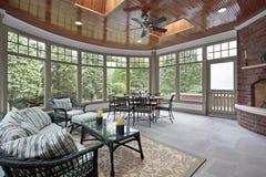 Bluestone porch with brick fireplace Royalty Free Stock Photo