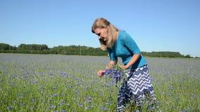 Bluet girl pick field stock video footage