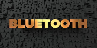 Bluetooth - Gold text on black background - 3D rendered royalty free stock picture. This image can be used for an online website banner ad or a print postcard Royalty Free Stock Images