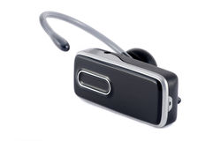 Bluetooth headset. Black hands-free bluetooth headset isolated on white Royalty Free Stock Images