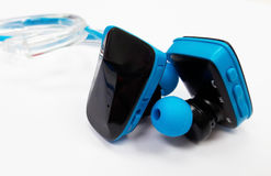 Bluetooth headset for listening to music when jogging or exercis Royalty Free Stock Image