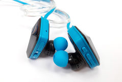 Bluetooth headset for listening to music when jogging or exercis. Ing Royalty Free Stock Image