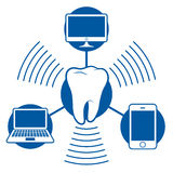 Bluetooth icon communication with computer not stock illustration