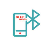 Bluetooth icon on smartphone touchscreen vector ilustration. Royalty Free Stock Image