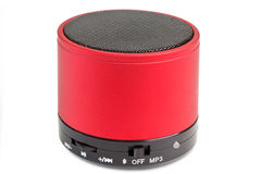 Bluetooth loudspeaker. Black and red Bluetooth loudspeaker - isolated on white background royalty free stock photography