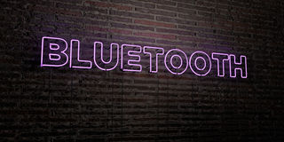 BLUETOOTH -Realistic Neon Sign on Brick Wall background - 3D rendered royalty free stock image Royalty Free Stock Image