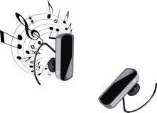 Bluetooth słuchawki mieć ręki uwalnia i słucha muzyka Obrazy Stock