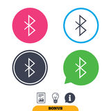 Bluetooth sign icon. Mobile network symbol. Data transfer. Report document, information sign and light bulb icons. Vector Stock Photography