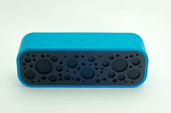 Bluetooth speakers for listening to music in blue. Stock Image
