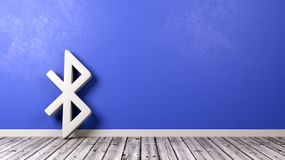 Bluetooth Symbol on Wooden Floor Against Wall. White Bluetooth Symbol Shape on Wooden Floor Against Blue Wall with Copyspace 3D Illustration Stock Photography