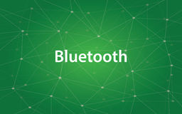 Bluetooth white text illustration with constellation map and green background. Vector Stock Image