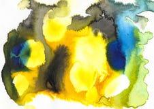bluets зеленый цвет, апельсин, желтый и белый acrylic и акварель Стоковые Изображения
