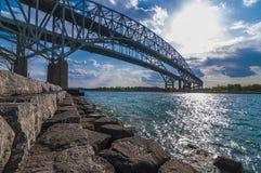 Bluewater border crossing bridge, Sarnia Ontario Canada. The Blue Water Bridge is a twin-span international bridge across the St. Clair River that links Port stock photos