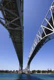 Bluewater Bridge. Wide angle view of the the Bluewater Bridge from underneath crossing into Port Huron, Michigan from Point Edwards, Ontario Royalty Free Stock Image
