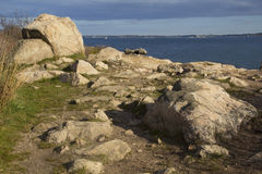 Bluff with boulders overlooking Long Island Sound in Connecticut. royalty free stock images